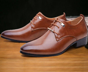 Leather Dress Shoes Men Casual Oxfords Pointed Toe Business Formal Office Shoes