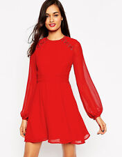 ASOS rosso Skater Dress Size XXS