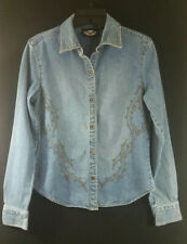 b7192e9ed67319 HARLEY DAVIDSON DENIM SHIRT SIZE SMALL EMBROIDERED WITH BLING
