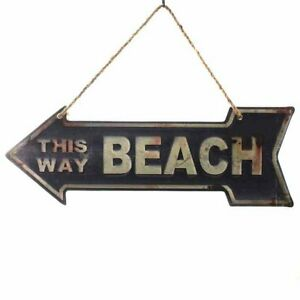 Metal Sign,Advertisement Sign As Bow, This Way Beach Note Shield 15x40 CM