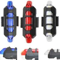 Rear 5 LED Bicycle Cycling Tail USB Rechargeable Red Warning Light Bike R1BO
