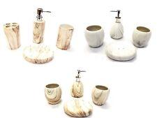 4 Piece Elegant Marble Collection Ceramic Bathroom Accessory Set