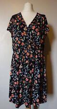 South Cap Sleeve Lace Shoulder Floral Wrap Dress Size 16 Multi UK FREEPOST