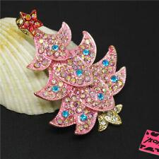 Crystal Betsey Johnson Charm Brooch Pin New Pink Enamel Cute Christmas Tree