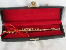 "FLUTE Miniature GOLD Only 6"" L With Stand & Case Great MUSIC Gift Brand NEW"