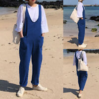 ZANZEA 8-24 Women Denim Blue Bib Pants Dungarees Overalls Long Jumpsuit Playsuit