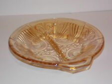 Vintage Depression Glass Divided Candy Dish With Handle Amber/Gold