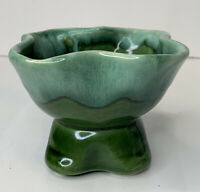 Vintage Beautiful Green Drip Glaze Pottery Ruffles Square Pedestal Planter