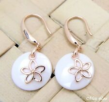 925 Silver Pink Rose Gold Hawaiian Plumeria Flower White Ceramic Circle Earrings