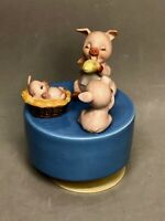 "Pig Family on Blue Base Rotating Music Box plays ""Tie a Yellow Ribbon"""