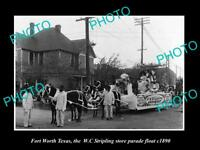 OLD LARGE HISTORIC PHOTO OF FORT WORTH TEXAS, STRIPLING STORE PARADE FLOAT c1890