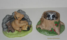 FRANKLIN PORCELAIN 1984 * 2 Woodland Surprises Figurines * Bear & Raccoon *