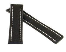 Büffelleder Uhrenarmband schwarz 22/18 mm kompatibel mit Breitling Faltschließe