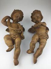 2 musizierende Holz Engel geschnitzt Wandengel Wandskulptur Figur 40 cm