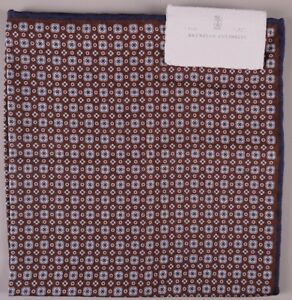 Brunello Cucinelli Pocket Square Brown Reversible Dual Design BNWT