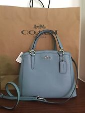 COACH Crossgrain Leather Minetta Cornflower BLUE Crossbody Bag MSRP $325