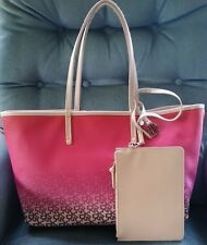 NWT DKNY Reversible Coated Canvas PVC Leather Tote Shoulder Bag w/Wristlet  $245