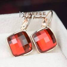 18CT Rose Gold Plated Square Cut Ruby Hoop Earrings Made With Swarovski Crystals