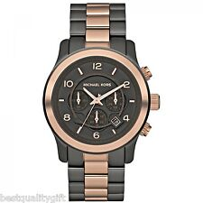 MICHAEL KORS TWO TONE ROSE GOLD OVERSIZE S/STEEL RUNWAY CHRONO WATCH-MK8189-NEW