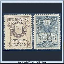 1907 San Marino Serie completa Stemma n. 47/48 Ben Centrati Nuovi Integri **