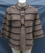 JILLIAN JONES 3-Button Snap 3/4 Sleeve Acrylic Sweater - MEDIUM