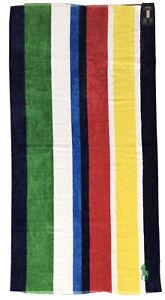 "NWT POLO RALPH LAUREN Colorful Striped Plush Beach Towel Big Pony 35""x66"""