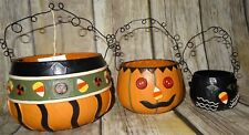 HALLOWEEN Vintage Style Plastic Buckets Set of 3 Decor Pumpkin Cat Tender Heart