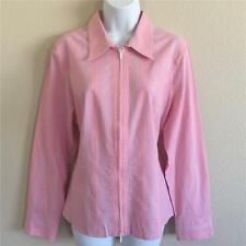 CAbi Style #330 Women's Pink Striped Cotton Blend Long Sleeve Top Blouse Size XL