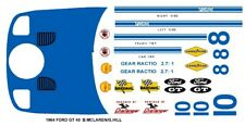 #10 Ford GT40 B. Mclaren / G.Hill 1964 1/32nd Scale Slot Car Decals
