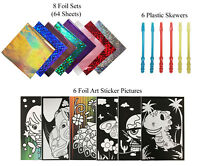 VHALE 6 Sheet Scratch Foil Art Sticker Picture for Kid Coloring Painting Crafts