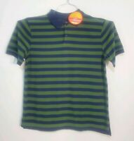 LL Bean Mens Striped Short Sleeve Polo Size Large Green and Blue