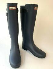 New - Hunter Original Refined Back Strap Stripe Matte Slate Tall Rain Boot 8