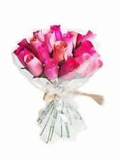 Everlasting Flower Bouquet, 2 Dozen Wooden Roses Mixed PINKS  24 Stems Bud Roses