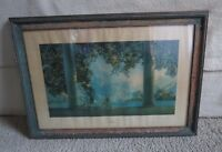 """Antique 1920-30s """"Daybreak"""" Maxfield  Parrish the house of art Nude print framed"""