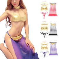 Womens Cosplay Lingerie Costumes Sexy Slave Skirt Faux Leather Bra Briefs Set