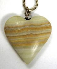 Honey Agate Onyx Heart Necklace Pendant Signed BAB 12k Gold GF Wheat Chain VTG