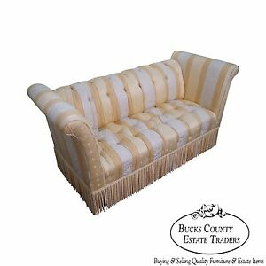 Old Hickory Tannery Upholstered Tufted Settee (A)