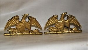 PATRIOTIC EAGLE and SHIELD gold color brass Bookends decorative sharp details