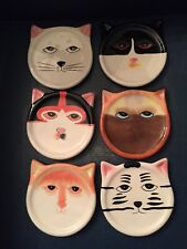 Set of 6 - Ceramic Cat Face Coasters - Hand Painted - Bandwagon