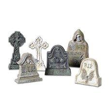 6 Rip Tombstones Halloween Graveyard Decoration Haunted House Prop Creepy Decor