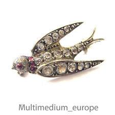 antike Silber Brosche schalbe swallow antique Victorian silver paste brooch