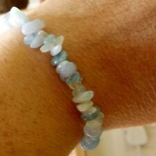 BLUE LACE AGATE, AQUAMARINE AND MOONSTONE CRYSTAL HEALING CHIP BEAD BRACELET