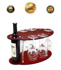 Table Top Wine Rack Wood Bottle Storage Free Standing Stemware Holder Decor