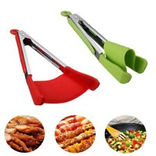 Spatula Tongs Non Stick Heat Resistant Kitchen BBQ Silicone Cooking Tool 2 in1