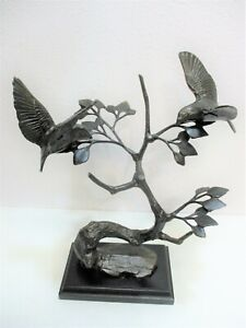 "Art Metal Sculpture Tree Birds 12 3/4"" Table Top Collectible Home Decor"