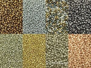 50g glass seed beads - Metallic, size 6/0 (approx 4mm) - choice of 9 colours