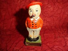 Wonderful Hand Carved & Painted Miniature Figurine Of A Man With A Pipe(?) Italy