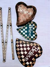 Set of 3 nesting primitive country hearts