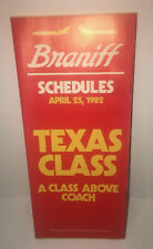 Braniff International Airlines Texas Class Schedule Timetable April 25 1982