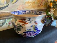 English Masons Ironstone Pottery Potty Container Lovely Flowers & Birds C1890